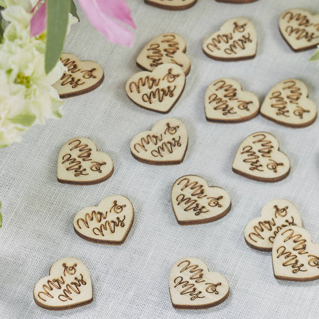 Wooden 'Mr and Mrs' Table Confetti