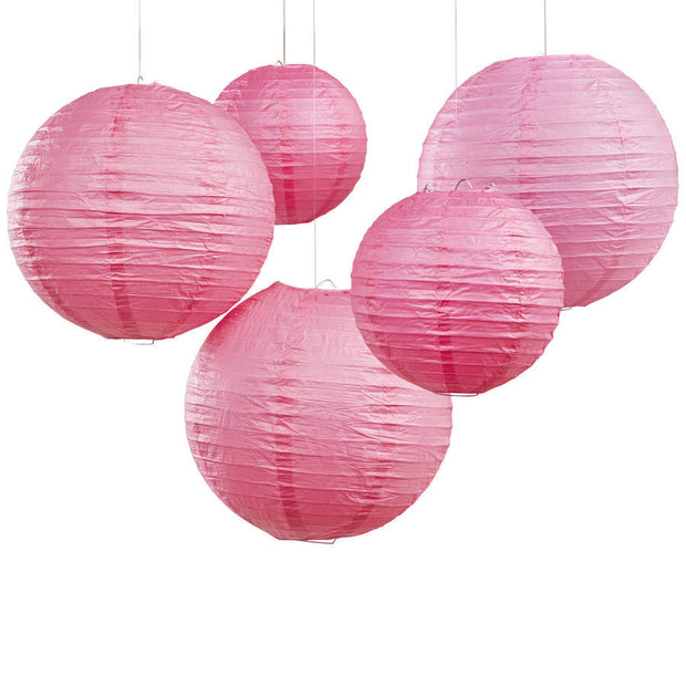 Bright Pink Paper Wedding Lanterns (Pack of 5)