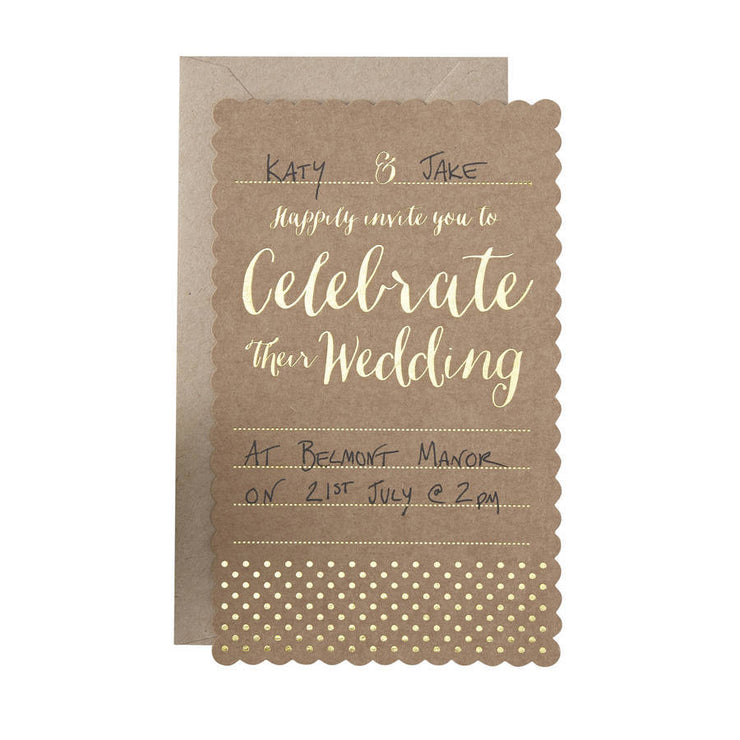 Kraft & Gold 'Wedding Invitations' (Pack of 10)