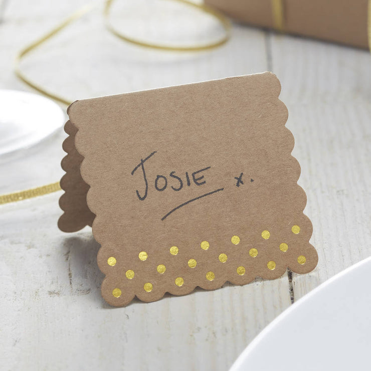 Kraft & Gold Place Cards (Pack of 10)