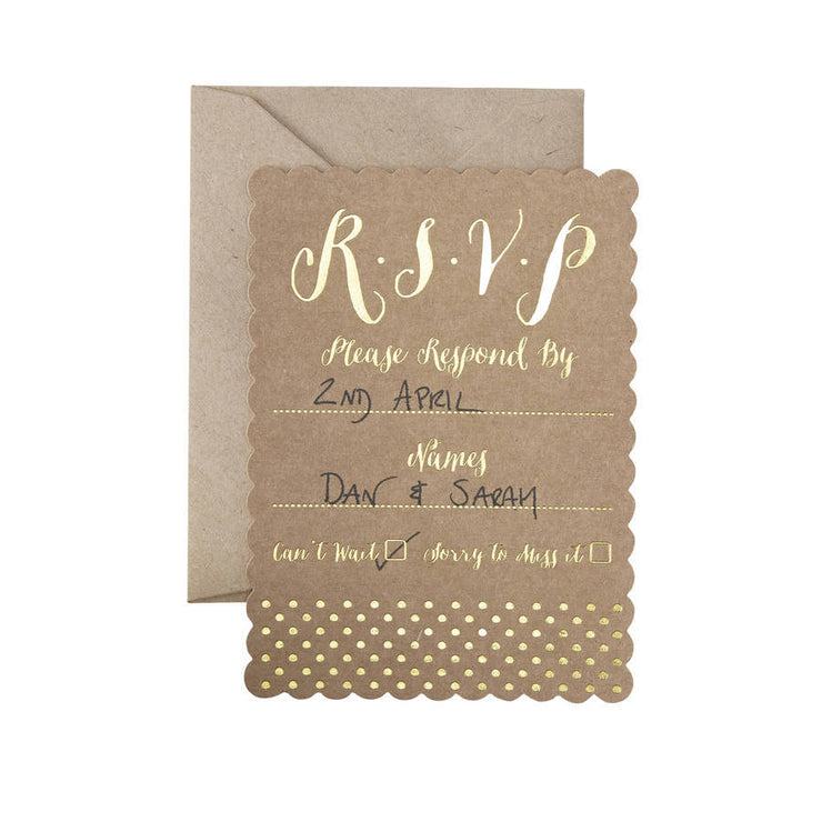 Kraft & Gold 'RSVP' Cards (Pack of 10)