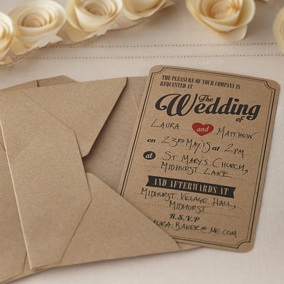Kraft 'Wedding Invitations' (Pack of 10)