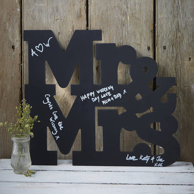 Chalkboard Mr And Mrs Word Signing Guest Book