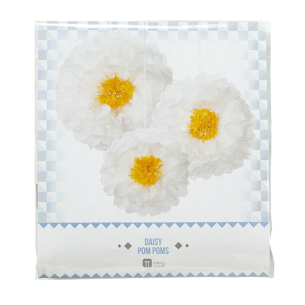 Daisy Flower Pom Poms Decoration Kit - Pack of 3