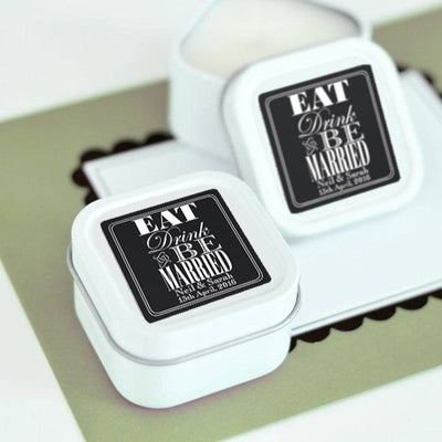 'Eat, Drink And Be Married' Personalised Candle Tins