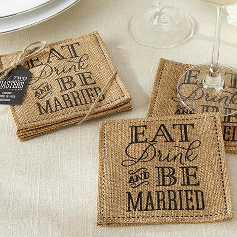 """Eat, Drink & Be Married"" Burlap Coasters (Set of 2)"