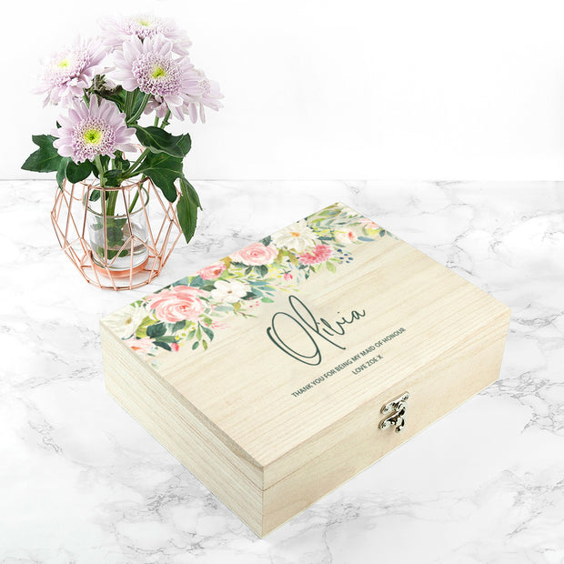 Personalised 'Olivia' Bridesmaid Wooden Box