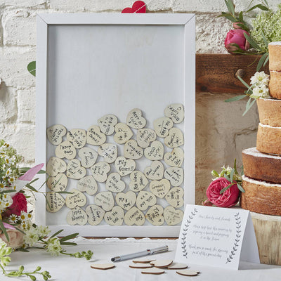 Drop Top Frame Guest Book with Hearts
