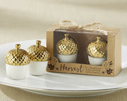 Gold Dipped Ceramic Acorn Salt & Pepper Shaker