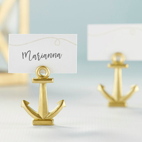 Gold Anchor Place Card Photo Holder
