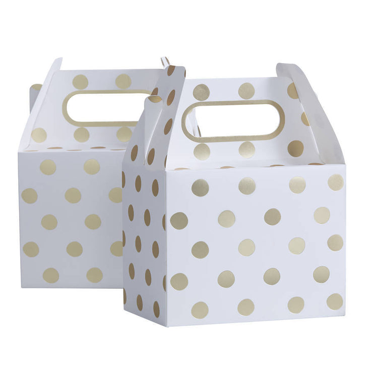 Gold Foil Polka Dot Favour Boxes (pack of 5)