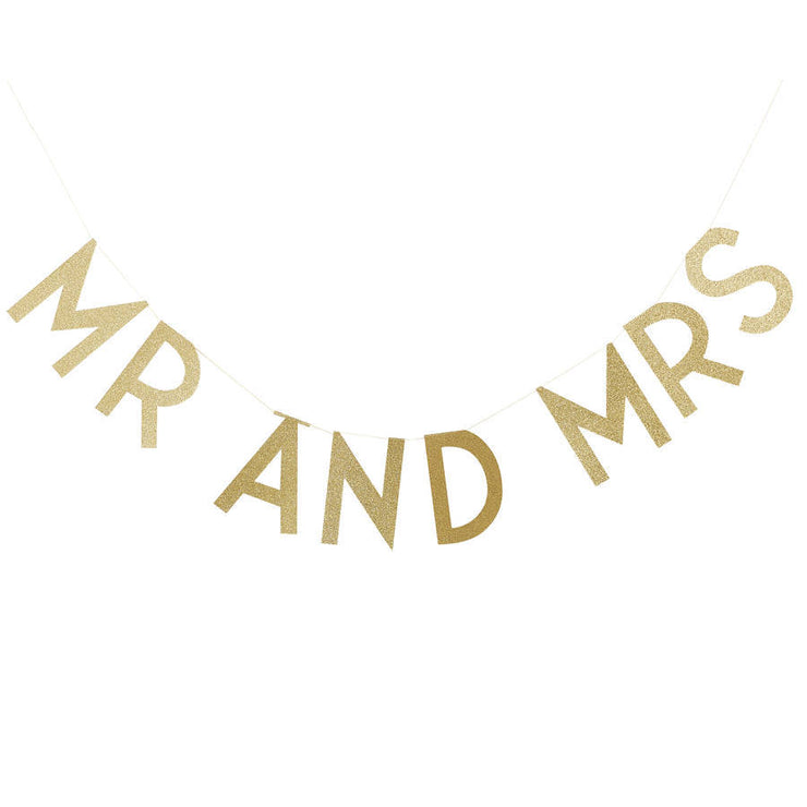 Gold Glitter 'Mr And Mrs' Bunting