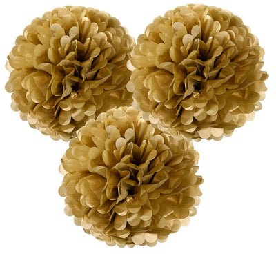 Gold Pom Poms Decoration Kit - Pack of 3