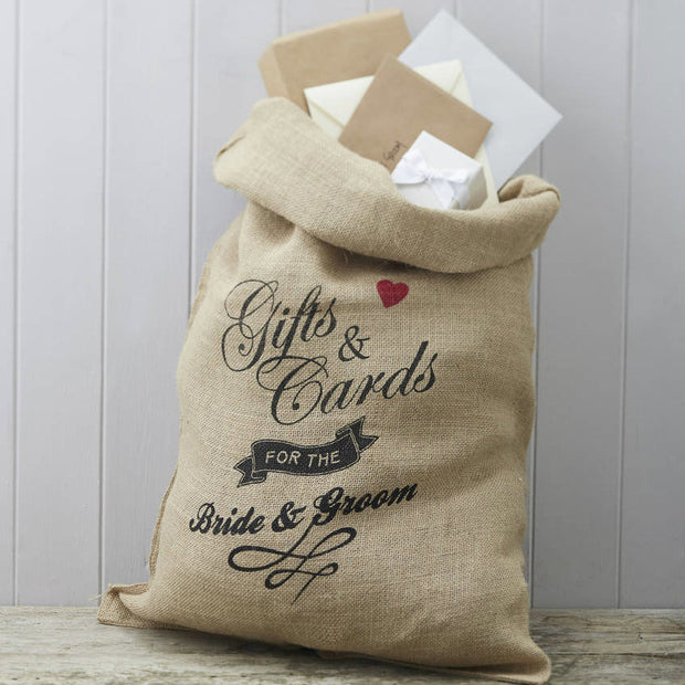 Hessian Mr And Mrs Wedding Card and Gift Sack