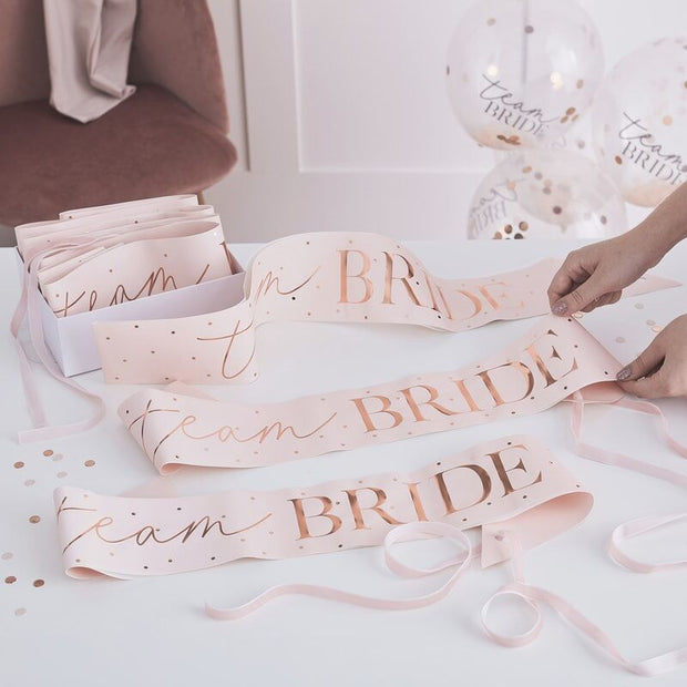 Pink And Rose Gold Team Bride Blush Hen Party Sashes (Pack of 6)