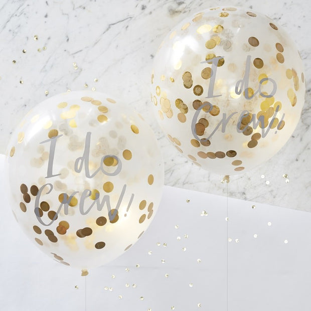 I Do Crew Printed Gold Confetti Balloons