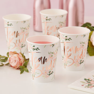 Bridal Shower Team Bride Paper Cups - Rose Gold Cups - Hen Party - Hen Night - Team Bride - Bridal Shower - Rose Gold Wedding
