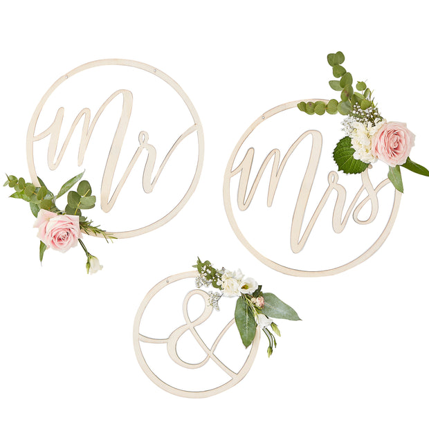 Mr & Mrs Wooden Hoops - Wedding Wooden Hoop Wreath  - Wedding Decor - Hanging Wedding Decorations - Wedding Signs - Mr and Mrs Sign