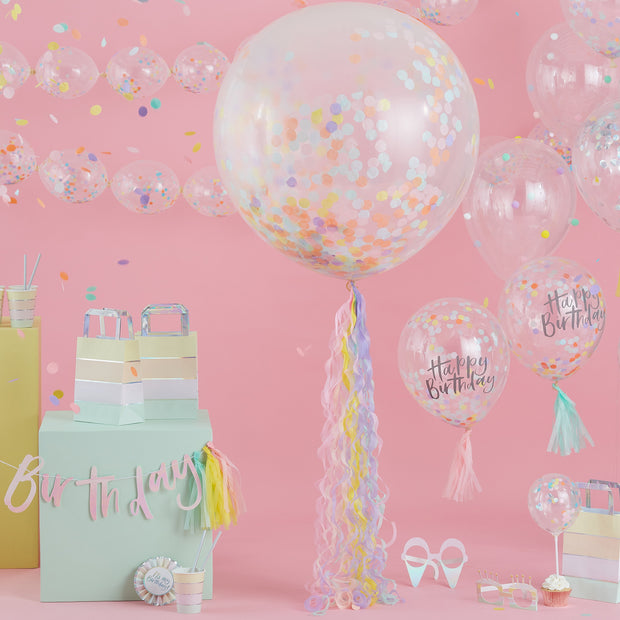 Pastel Balloon Tail -  Balloon Tail for Confetti Balloons - Pastel Party Decorations - Kids Birthday Party