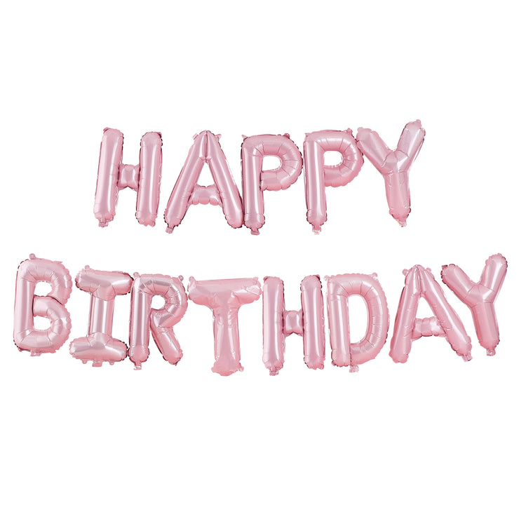 Happy Birthday Letter Balloons - Balloon Bunting - Matte Pink Balloons - Pastel Party Decorations