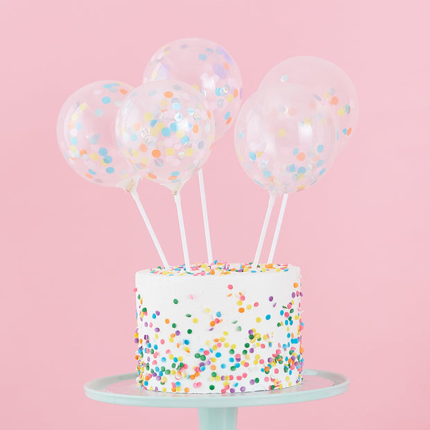 Mini Balloon Cake Topper -  Confetti Balloon Cake Topper Kit  - Confetti Balloons - Pastel Party Decorations