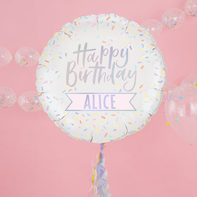 Personalised Happy Birthday Foil Balloon - Iridescent Foil Balloons - Pastel Party Decorations - Balloons
