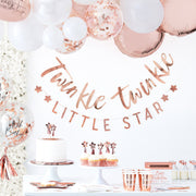 12 Rose Gold Twinkle Star Cupcake Toppers - Twinkle Little Star Party - Baby Shower Cupcake Toppers - Gender Reveal Party