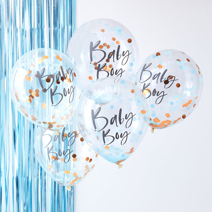 Baby Boy Confetti Balloons - Twinkle Little Star Baby Shower - Baby Shower Balloons - Gender Reveal Party - Balloons for Baby Boy