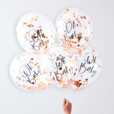 Rose Gold Oh Baby Confetti Balloons - Baby Shower Balloons - Gender Reveal Party - Neutral Baby Shower