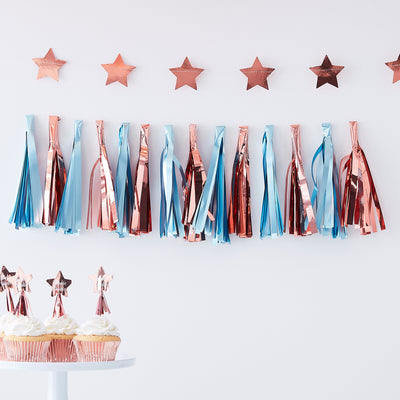 Blue And Rose Gold Tassel Garland  - Tassel Garlands - Blue Tassel Garland  - Baby Shower Decorations
