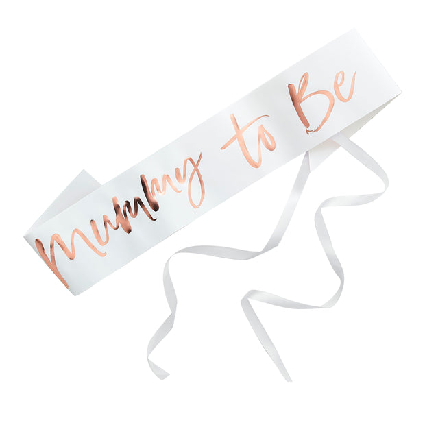 Mummy To Be Sash - Mummy To Be White And Rose Gold Sash - Mum To Be Sash - Baby Shower Sash