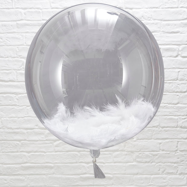 3 White Feather Filled Orb Balloons - Feather Filled Balloons - Orb Balloons - Wedding Balloons - Wedding Decorations
