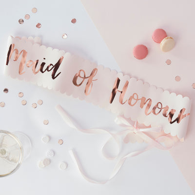 Maid of Honour Sash - Rose Gold Team Bride Sash - Hen Party Sashes - Team Bride - Bridal Shower Sashes