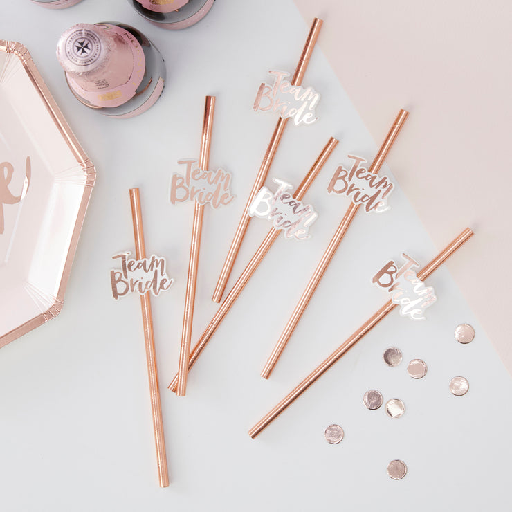 Rose Gold Team Bride Paper Straws - Rose Gold Hen Party - Rose Gold Bridal Shower - Hen Party Straws - Bridal Shower Straws