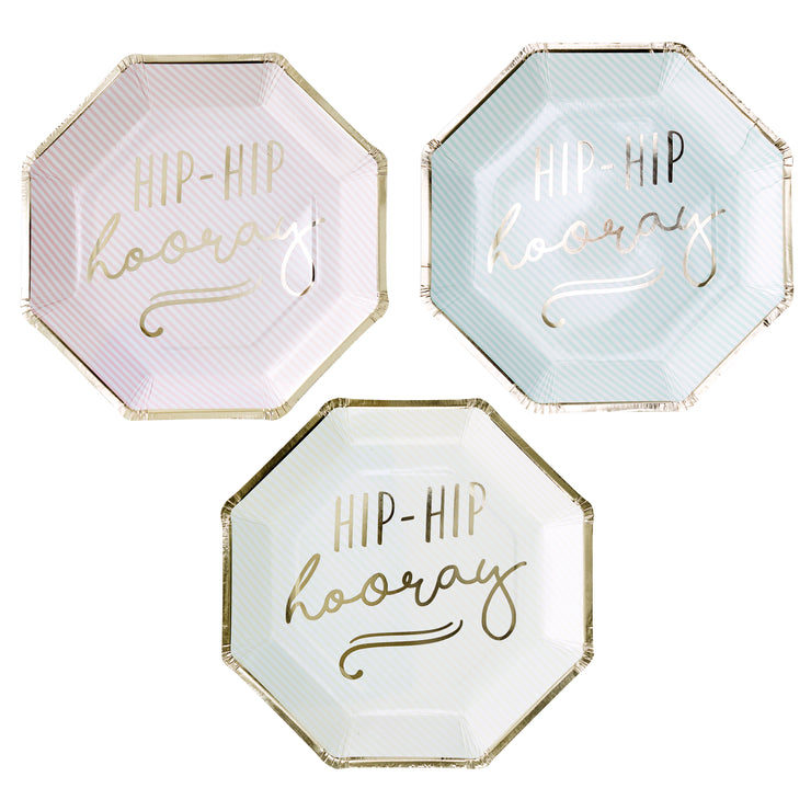 Gold Foiled Hip Hip Hooray Pastel Paper Plates - Pastel Party Plates - Pastel Paper Plates - Pastel Party - Pastel Party Decorations