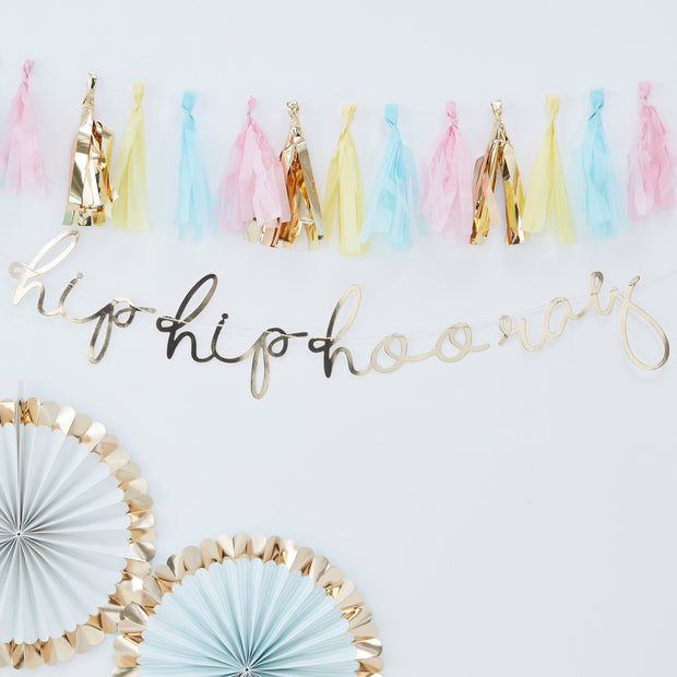 Gold Hip Hip Hooray Bunting - Birthday Bunting  - Happy Birthday Bunting - Pastel Birthday - Pastel Rainbow Party