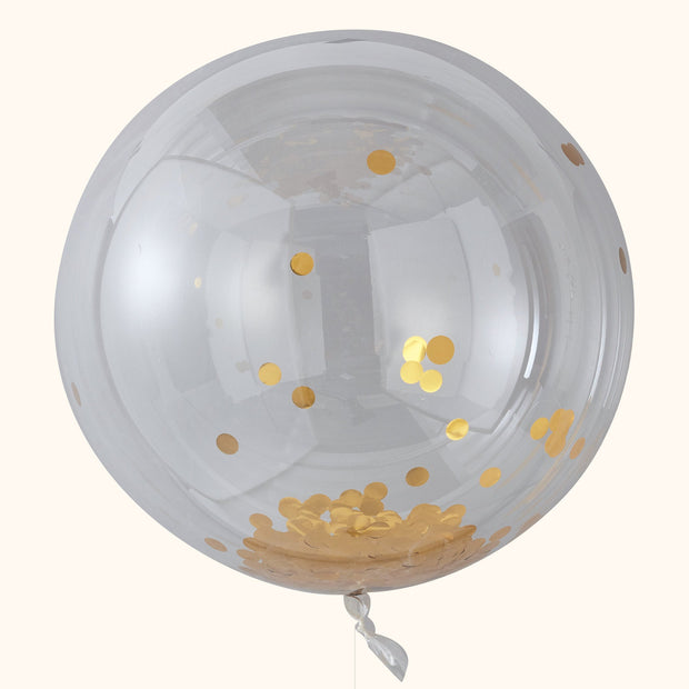 3 x Large Gold Foil Confetti Orb Balloons - Giant Confetti Balloons - Birthday Party Balloons - Birthday Confetti Balloons