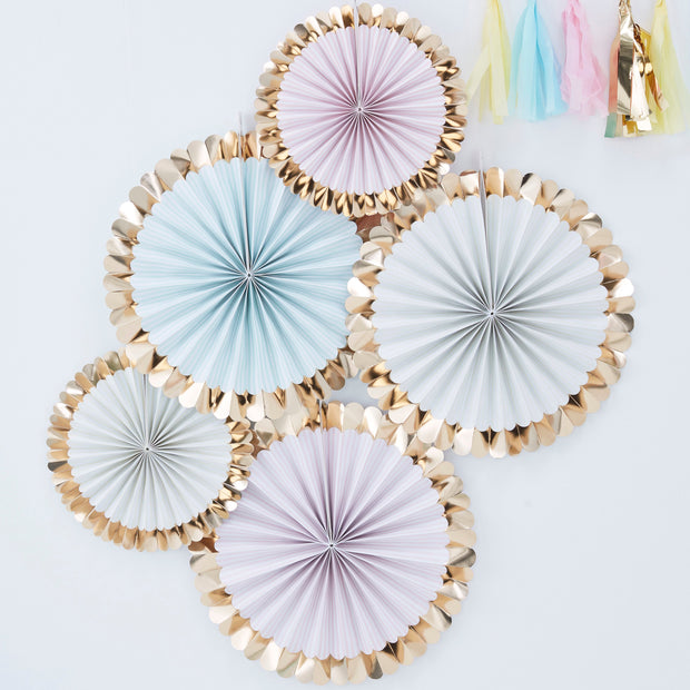 Gold Foiled Pastel Fan Decorations  - Paper Fan Decorations - Pastel Party Decorations - Birthday Backdrops - Party Backdrop