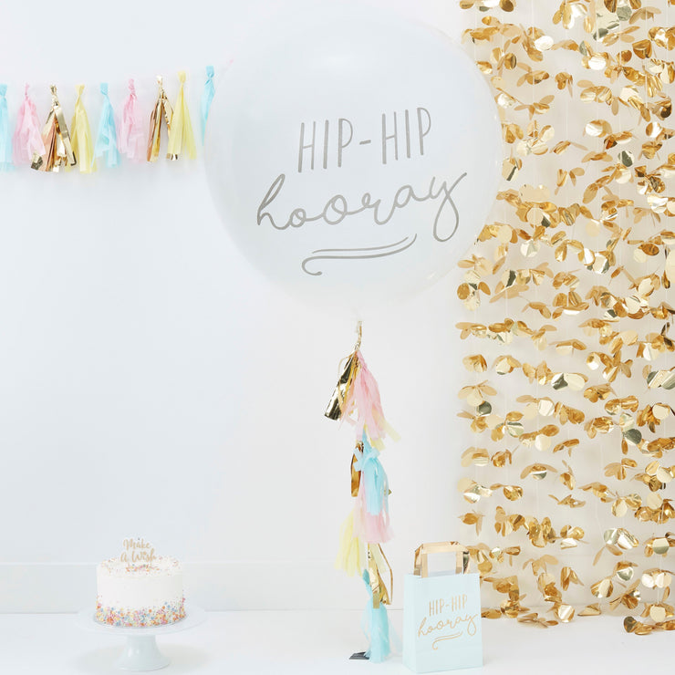 Large Hip Hip Hooray Balloon with Tassel Tail -  Balloon Tassels - Giant Balloons - Birthday Party Balloons - Baby Shower Balloons