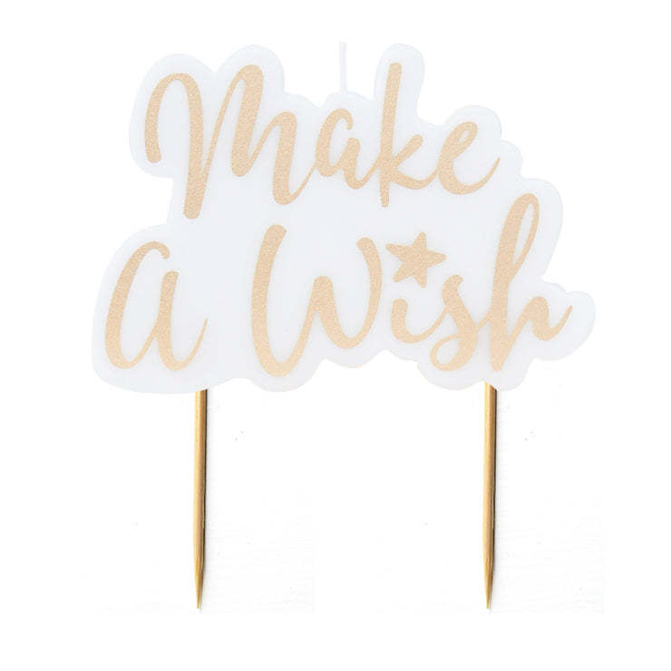 Gold Make A Wish Candle - Birthday Cake Candle - Wish Cake Candle - Birthday Candles - Party Candles