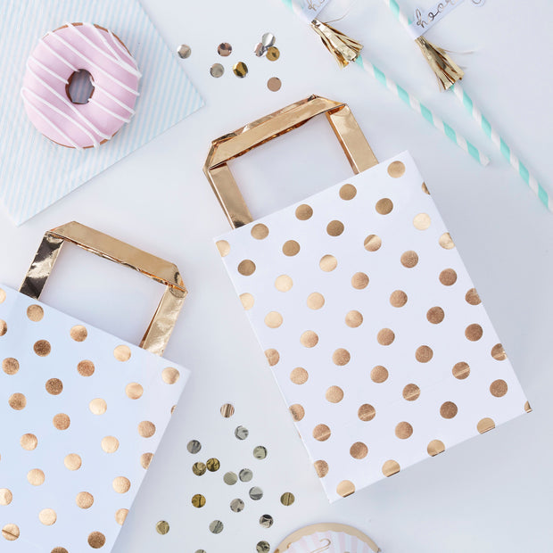 Gold Foiled Polka Dot Party Bags - Gold Party Bags - Goodie Bags - Pastel Party - Party Bags