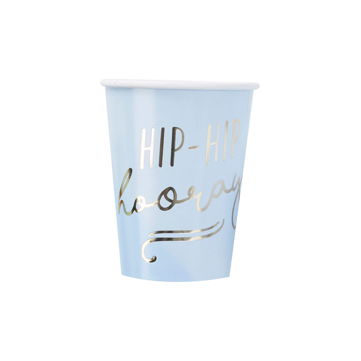 Gold Foiled Hip Hip Hooray Blue Paper Cups - Pastel Party Cups - Blue Paper Cups - Blue Party Decorations