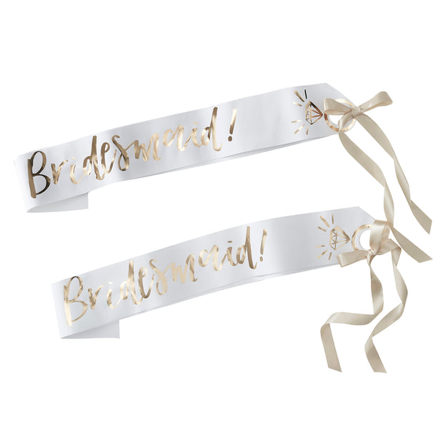 2 x Bridesmaid Sashes - White And Gold Bridesmaid Sash - Hen Party Sashes - Bridal Shower Sashes