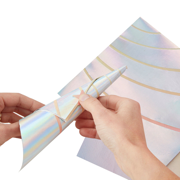Iridescent Foiled Unicorn Horn Paper Napkins -  Unicorn Birthday Party - Unicorn Party - Unicorn Party Decorations