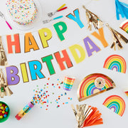 Rainbow And Gold Glitter Happy Birthday Candles - Birthday Candles - Rainbow Party  - Happy Birthday Candles