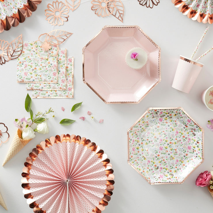 Rose Gold Foiled Floral Paper Plates - Floral Party Plates - Tea Party Plates - Summer BBQ Plates - Summer Party Decorations
