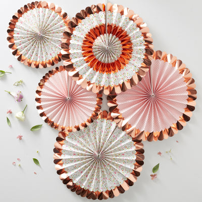 Rose Gold Foiled Floral Fan Decorations - Party Fan Decorations - Wedding Paper Fan Decorations - Hen Party Decorations - Summer Party