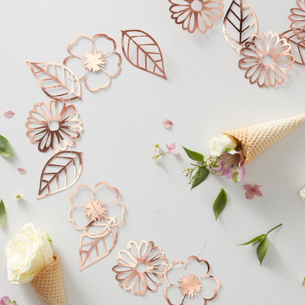 Rose Gold Foiled Flower Garland - Floral Rose Gold Garland - Wedding Floral Bunting - Summer Party Decorations