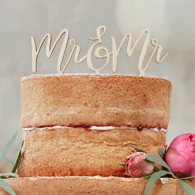 Wooden MR And MR Cake Topper - Wooden Cake Topper - Wedding Cake Topper - Rustic Wedding Decorations