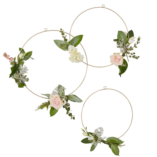 Gold Floral Hanging Hoops - Wedding Floral Hoop Wreath  - Wedding Decor - Hanging Wedding Decorations - Wedding Hanging Hoops
